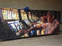 The senior class casino slot machine mural.