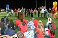 Irvine Unified School District (IUSD) Superintendent Terry Walker speaks during the halftime stadium dedication ceremony.