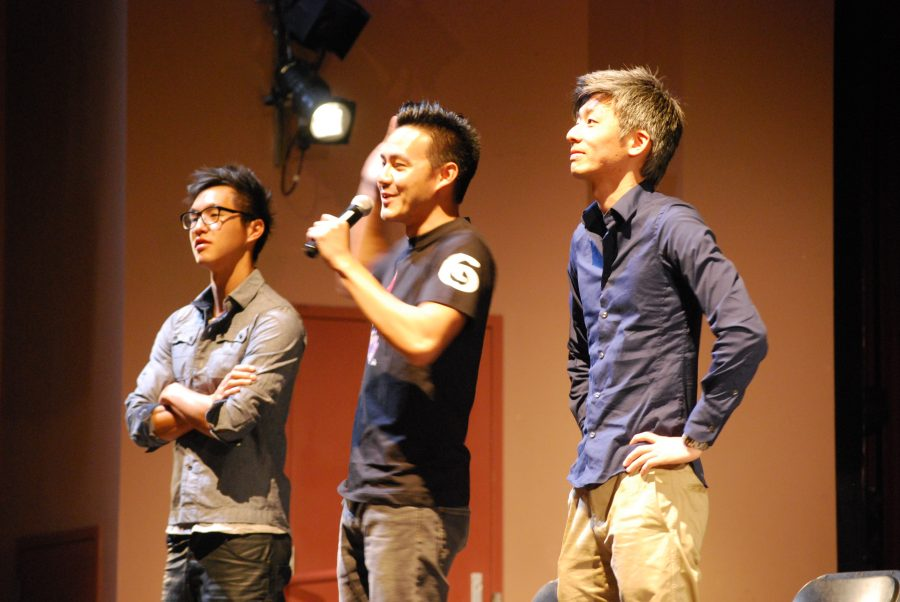 Wong Fu Productions members Wesley Chan, Philip Wang, and Ted Fu answer audience questions.