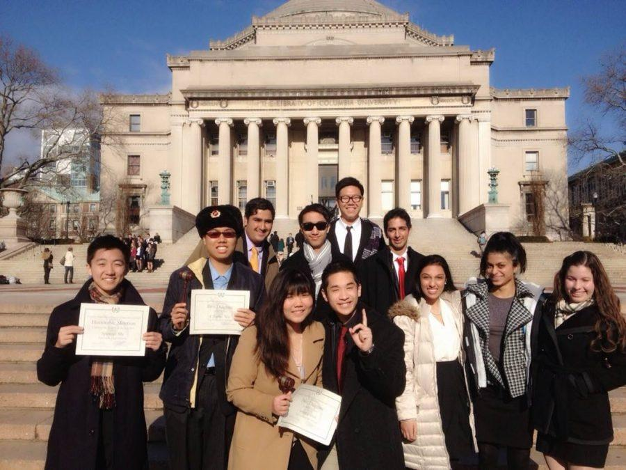 UHSMUN+members+show+off+their+accomplishments+outside+of+a+Columbia+hall.+Photo+courtesy+of+UHSMUN