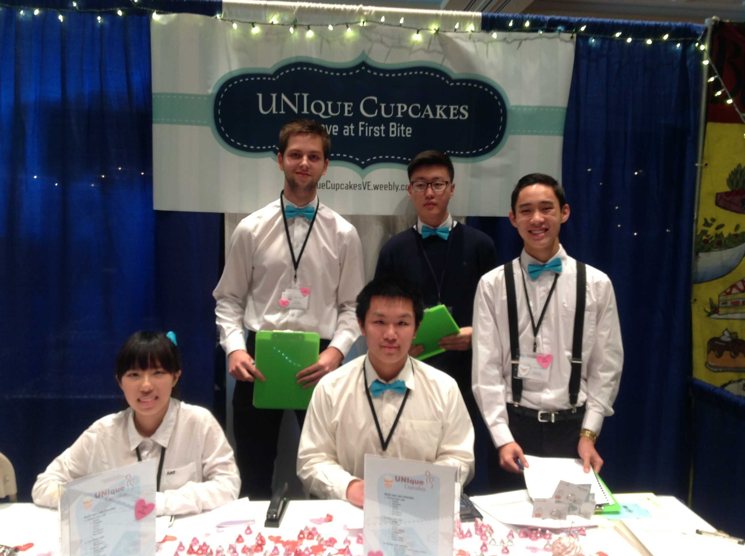 """UHS Virtual Enterprise team presents its business """"UNIque Cupcakes"""" at a Trade Show in Long Beach photo courtesy of Mrs. Nora Seager"""