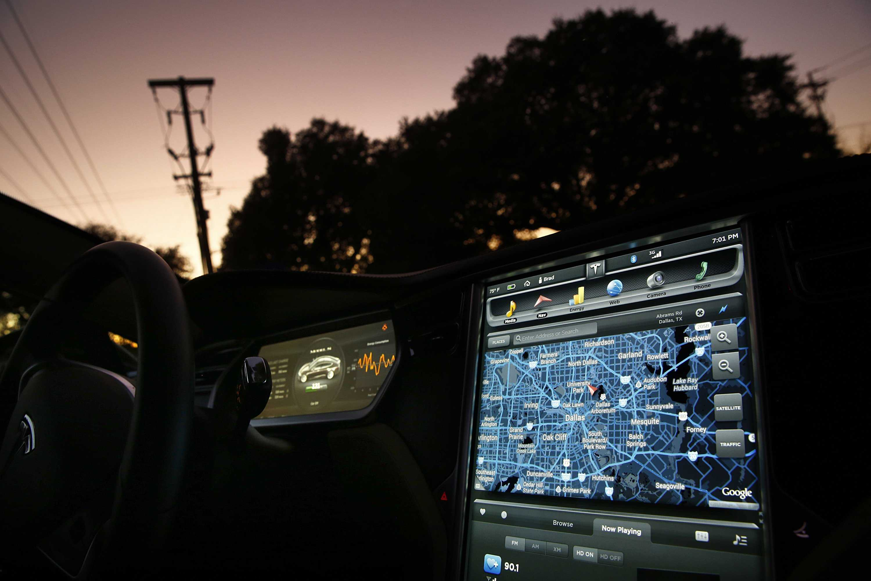 Backup camera with GPS, internet and calling system in new Tesla Model Tom Fox/ Dallas Morning News/MCT