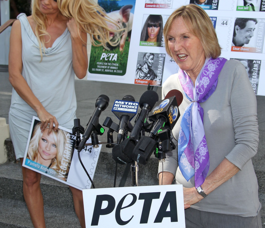 Pictured: Pamela Anderson, PETA Founder, Ingrid Newkirk. (Baxter/AbacaUSA.Com/MCT)