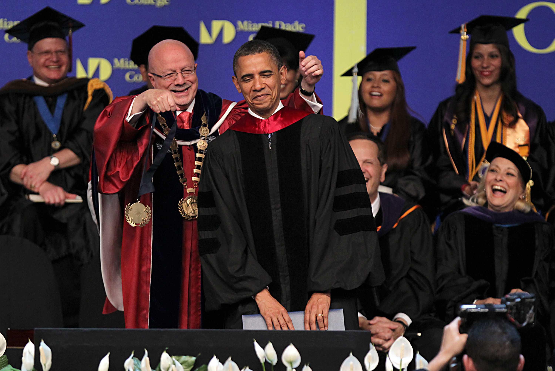 President Obama speaks at 2011 Miami Dade College graduation ceremony  courtesy of Pedro Portal/El Nuevo Herald/MCT