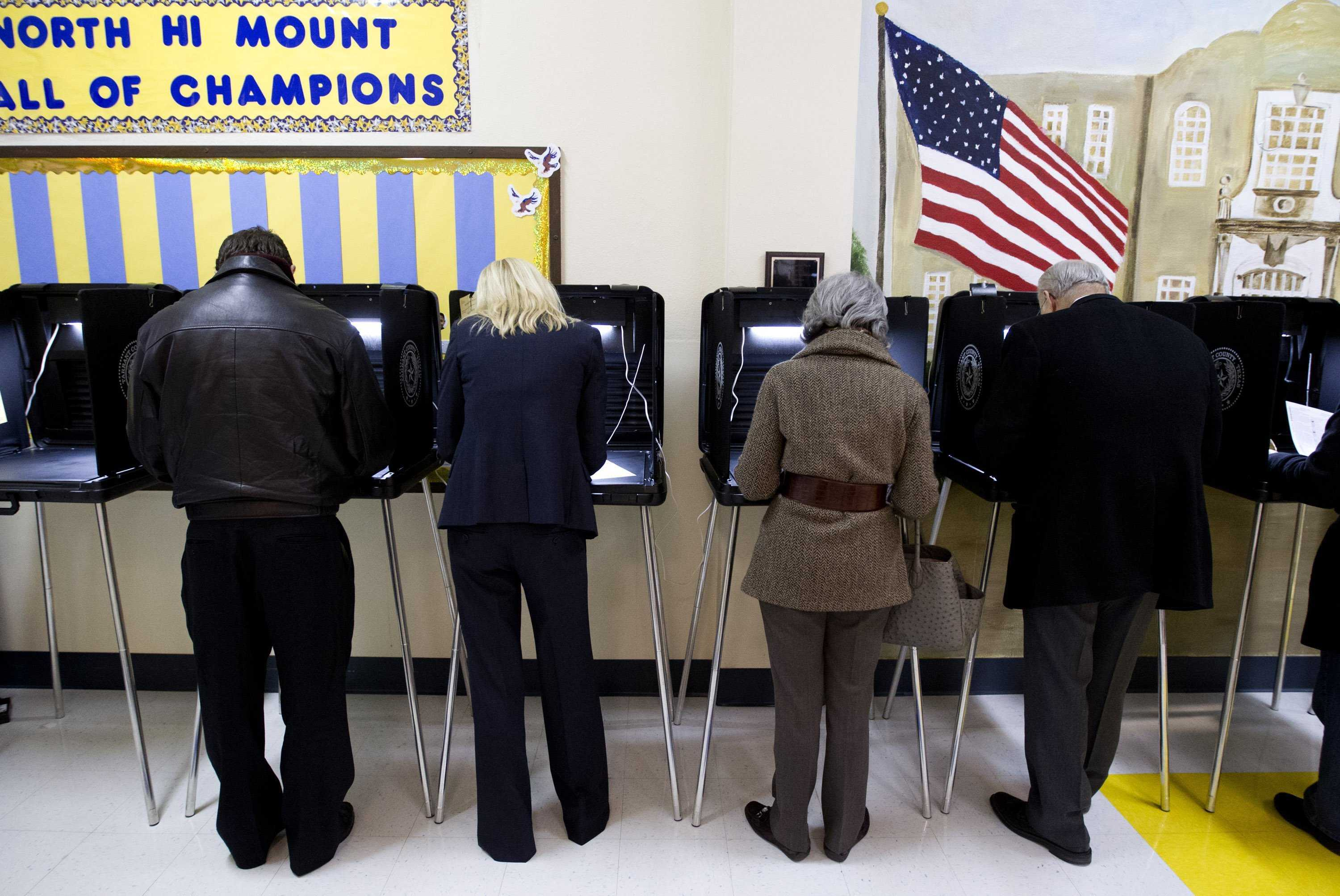 Texas residents particpate in primary election at local elementary school Joyce Marshall/Fort Worth Star Telegram/MCT)