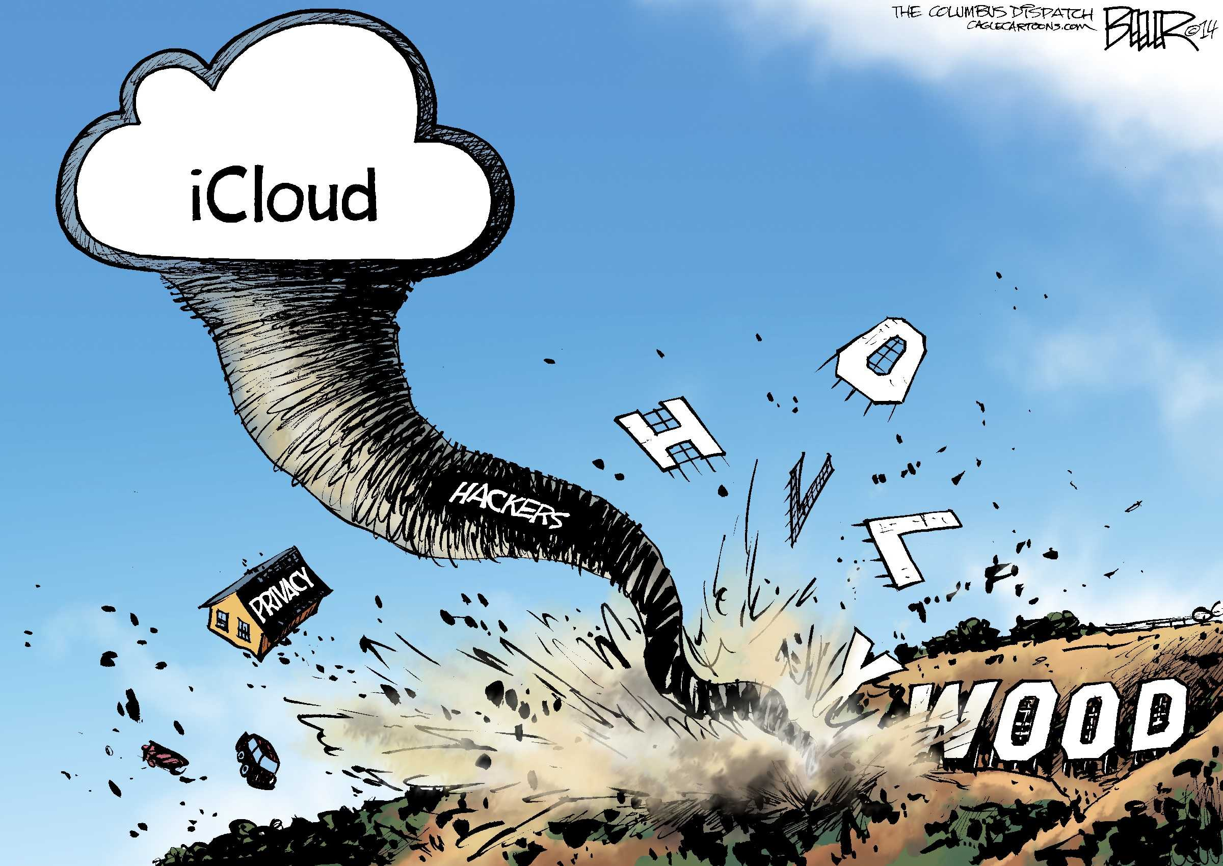 The cartoon illustrates a summary of what's happened with the iCloud breach (Nate Beeler/MCT).