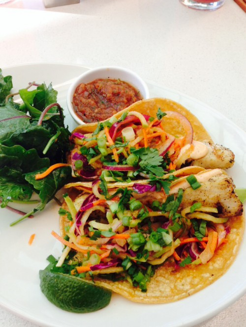 Fish tacos with corn tortilla, cilantro, grilled mahi, chayote slaw and avocado (Elise Rio)