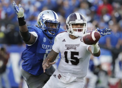 Mississippi State may surprise the nation with an appearance in the championship with Heisman candidate Dak Prescott (#15). (Pablo Alcala/Lexington Herald-Leader/MCT)