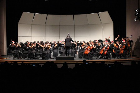 Concert Orchestra, in addition to String and Symphonic Orchestra, performs multiple festive pieces.