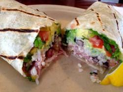 Ahi fish burrito with avocado sauce. (Denali Bollens)