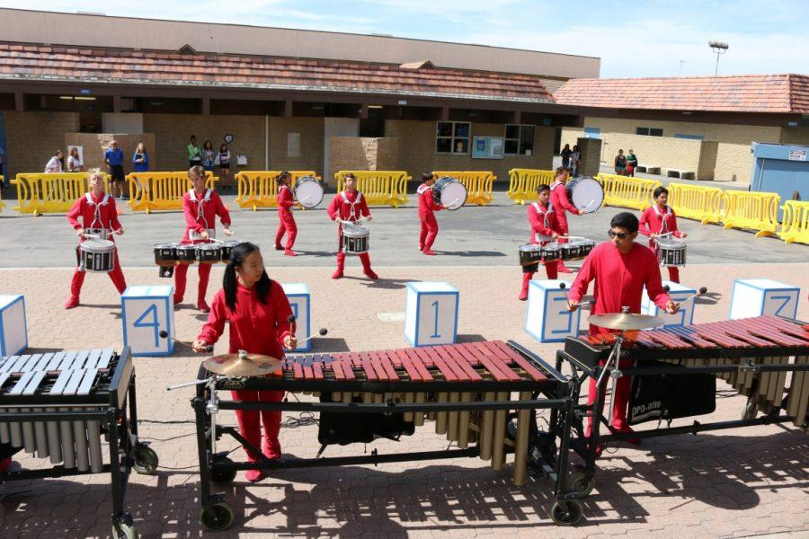 The drumline puts on a lively performance during a lunchfest. (Joseph Hong)