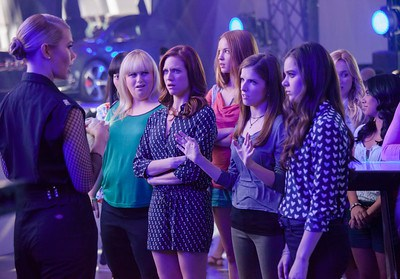 Kommissar (Birgitte Hjort Sorensen) throws shade at the Barden Bellas Lilly (Hana Mae Lee), Fat Amy (Rebel Wilson), Chloe (Brittany Snow), Stacie (Alexis Knapp), Beca (Anna Kendrick), Emily (Hailee Steinfeld), Jessica (Kelley Alice Jakle) and Flo (Chrissie Fit) in Pitch Perfect 2. (Photo courtesy Universal Pictures/TNS)