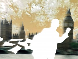 300 dpi Reuben Munoz and Paul Gonzales color illustration of silhouette of man running across London skyline. Los Angeles Times/MCT 2010 10000000; krtcampus campus; krtfeatures features; krtlifestyle lifestyle; krtworld world; leisure; LIF; krt; mctillustration; 10006000; 10007000; FEA; krttravel travel; LEI; tourism; GBR; krteurope europe; u.k. uk united kingdom; gonzales; hurry rush; la contributed; london; munoz; 2010; krt2010