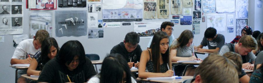 Students take notes in a University High School history class. Taken by Mahsa Mostaan.