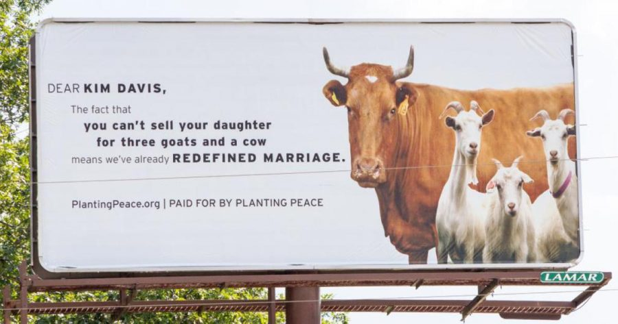 In response to Kim Davis's discriminatory actions, social activists in her home county of Rowan, Kentucky have erected a billboard in protest. (Google)