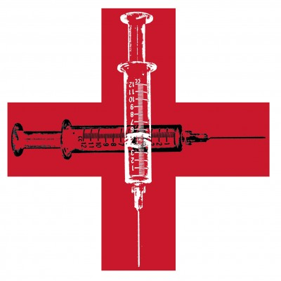 300 dpi Wes Bausmith illustration of crossed hypodermic needles on a red cross; can be used with stories about drug addiction. Los Angeles Times/MCT 2012 krtnational national; krtworld world; krt; krtcampus campus; mctillustration; 14001000; addiction; krtsocialissue social issue; SOI; heroin addict; hypodermic needle; la contributed bausmith; red cross; 2012; krt2012