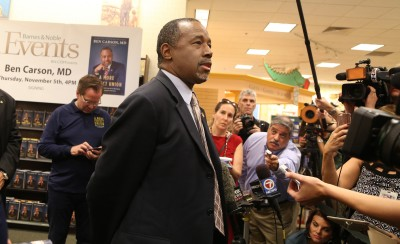 Republican presidential candidate Ben Carson talks to the media during a book signing at the Lauderdale Barnes and Noble on Thursday, Nov. 5, 2015, in Fort Lauderdale, Fla. (Carline Jean/Sun Sentinel/TNS)