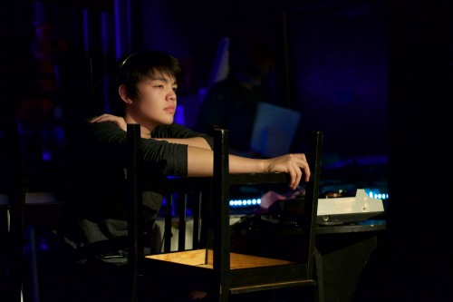 Assistant Stage Manager Ethan Fridley (Sr.) oversees scene changes during rehearsal. (Alex Novakovic)