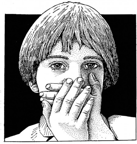 300 dpi 2 col x 4 in / 96x102 mm / 327x346 pixels Ric Thornton color illustration of child covering his mouth with his hands. Macon Telegraph 2005  KEYWORDS: child silence silent speak no evil quiet children child language mute krtfeatures features krtnational national krtworld world krtfamily family illustration ilustracion lenguaje joven silencioso silencio mudo krtdiversity diversity youth krt grabado aspecto aspectos ma contributed coddington thornton 2005 krt2005