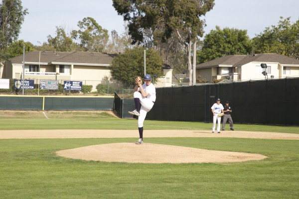 Jacob Collins (Jr.) winds up for a pitch in his strong outing against San Juan Hills. (A. Novakovic)