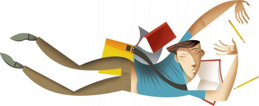 300 dpi Amy Ning color illustration of of a teen student falling face downward, his eyes closed, and with books and pencils falling around him. Orange County Register 2008 worry worried student illustration falling grades teen adolescence high school college psychological stress bookbag pencil exams sleep study; krteducation education; krtnational national; krtworld world; krt; mctillustration; college; university; illness; krthealth health; mental illness; HEA; HTH; MED; EDU; 07017001; 05007000; 05000000; 2008; krt2008; oc contributed ning coddington mct mct2008 2008