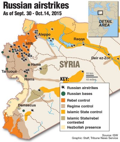 Map locating Russian airstrikes in Syria