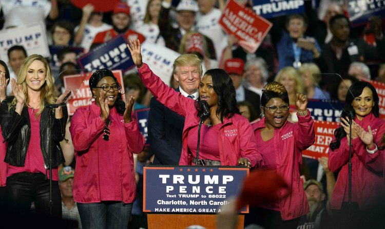 Reality+TV+personality+Omarosa+Manigault+and+other+Women+for+Trump++members+endorse+Republican+presidential+candidate+Donald+Trump+during+a+campaign+rally+at+the+Charlotte+Convention+Center+in+Charlotte%2C+N.C.%2C+on+Friday%2C+Oct.+14%2C+2016.+%28David+T.+Foster+III%2FCharlotte+Observer%2FTNS%29