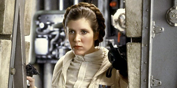 Carrie Fisher as Princess Leia in the first Star Wars movie in 1977 (Google).