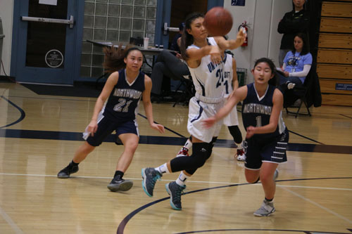Karissa Shin (Jr.) passes it for University despite incoming pressure from the Timberwolves. (M.Olney)