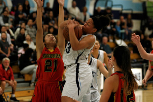 Deja Rodgers (Sr.) goes up strong with the ball for a layup. (J.Koo)