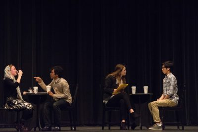 Corinne Alsop (Sr.), Darrius Estigoy (Sr.), Sophie Lawrence (Sr.), and Nelson Lo (Sr.) perform Accepted during part one of the Festival of the Absurd (Amanda Tran).