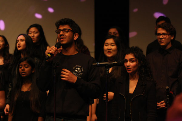 Vignesh Iyer (Sr.) performs several love songs with the Madrigals, which is the highest UHS choir. (R. Sabnis)