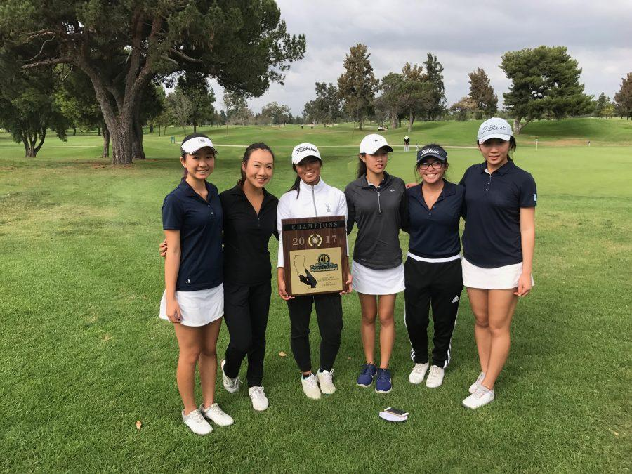Girls Golf triumphed over nineteen teams in sectionals to win CIF-SS championships. (Courtesy of C. Shea)