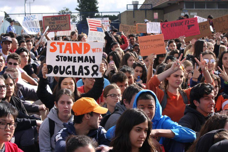 Enough is Enough: Hundreds of students gather in front of the entrance from Chuck Keith Way after walking out of their first period classes. They join thousands of others students across the country who are calling for stricter gun control laws. (F. Cervantes)