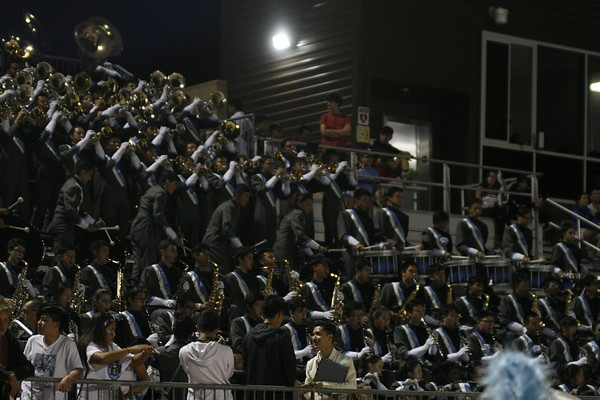 The Marching Trojan Regiment in the stands last Friday (Laila Mostaan)