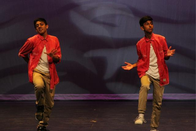 Junior Gaurav Malhotra and Sophomore Mannsukh Bhogal, The Dance Duo, caused quite the uproar in the audience (Julia So)