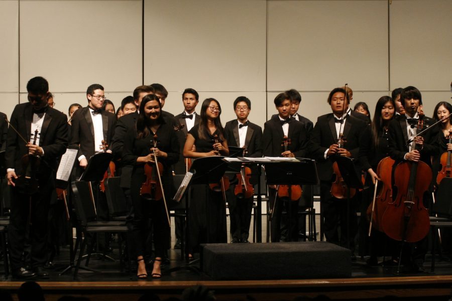 The Symphony Orchestra is applauded by the audience at the end of the concert (Caitlyn Vang)