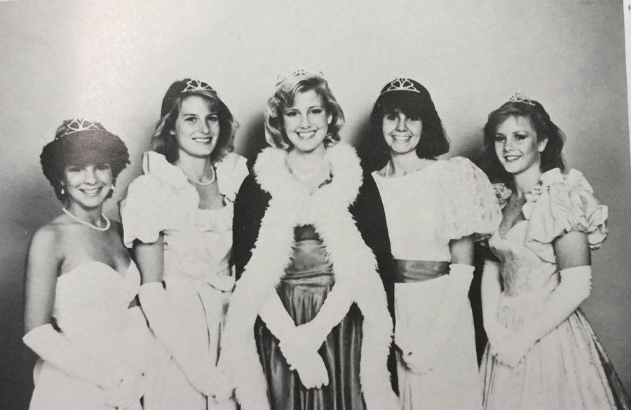 The 1985 Homecoming Queen nominees pose in their poofy dresses.