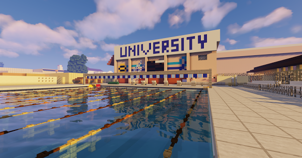 The swimming pool of UHS as depicted in Minecraft (Kyler Chin).