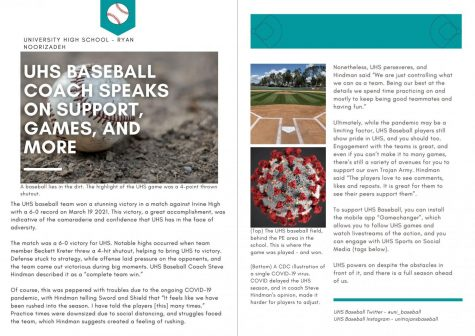 Beginning Journalism Project - UHS Baseball Coach Speaks On Support, Games, and More