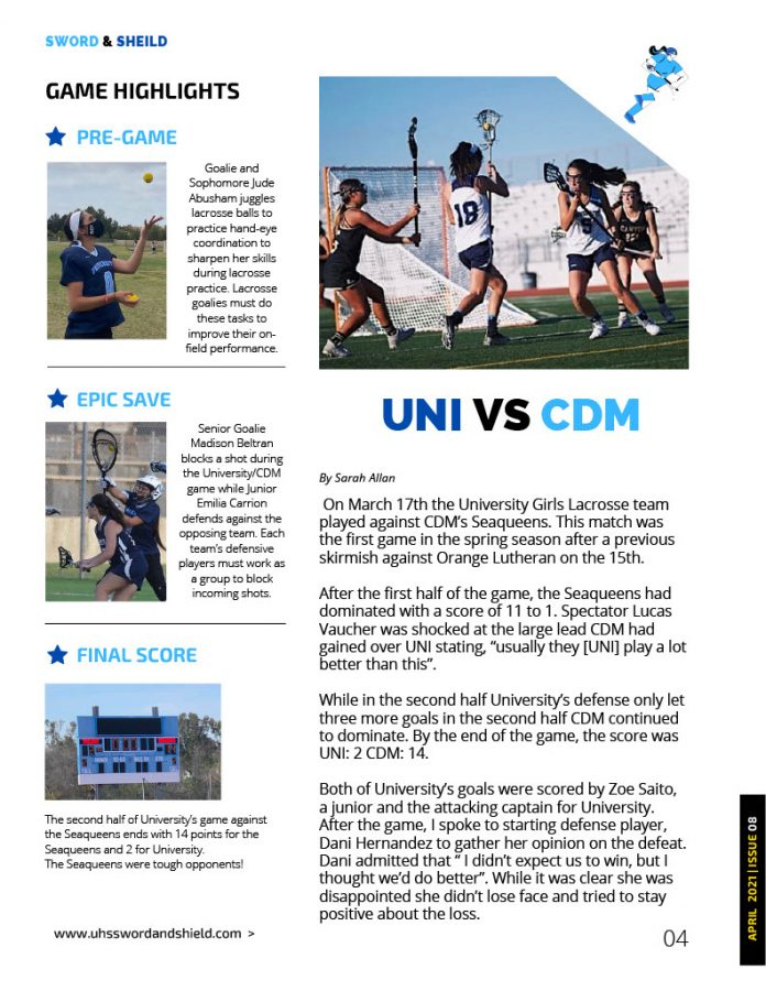 Beginning Journalism Project - UNI VS CDM