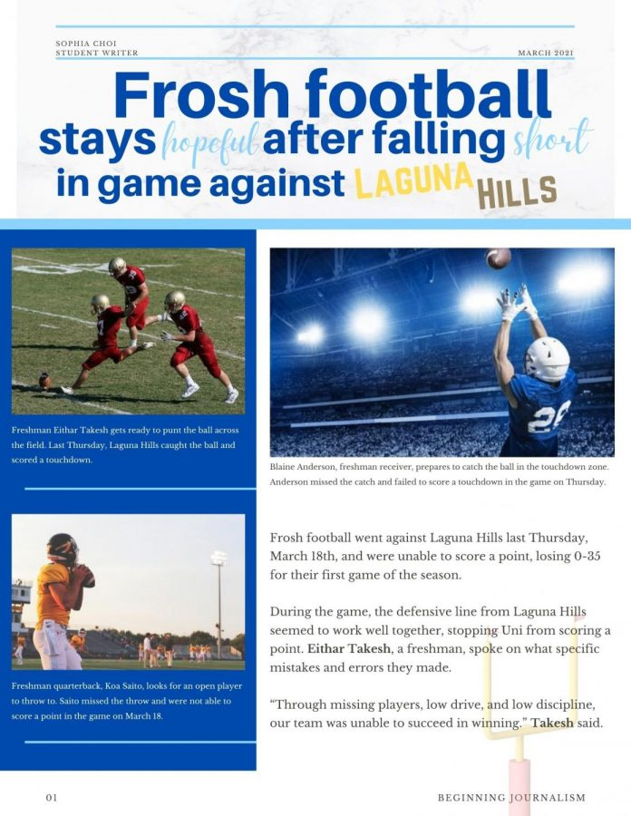 Beginning Journalism Project - Frosh football stays hopeful after falling short in game against Laguna Hills