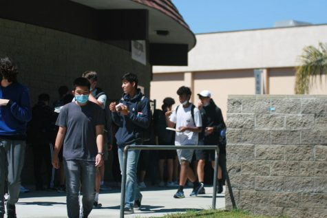 Students walking away from the cafeteria, enjoying lunch.